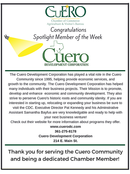 Cuero Chamber of Commerce Recognizes CDC As Spotlight Member of the Week