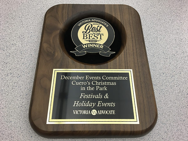 Plaque recognizing Cuero's Christmas in the Park's Victoria Advocate Best of the Best awards