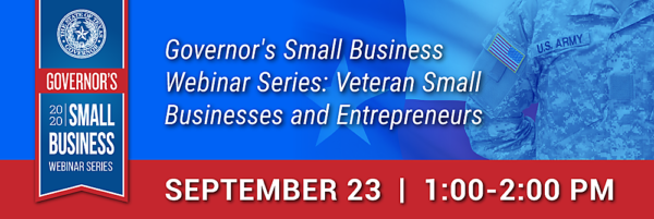 Graphic for Governor's Small Business Webinar 2020-09-23