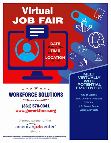 Graphic for Workforce Solutions Golden Crescent Virtual Job Fair 2020-10-22