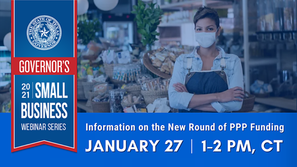 Graphic for January 27th 2021 Governor's Small Business Webinar
