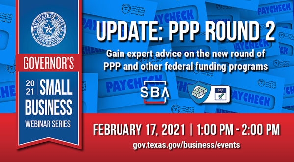Graphic for February 17th 2021 Governor's Small Business Webinar