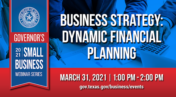 Graphic for March 31st 2021 Governor's Small Business Webinar