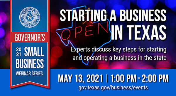 Graphic for May 13th 2021 Governor's Small Business Webinar
