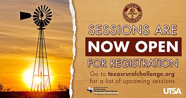 """Graphic for UTSA SBDC July 13th & 14th 2021 Texas Rural Challenge: """"The Road to Resiliency"""""""