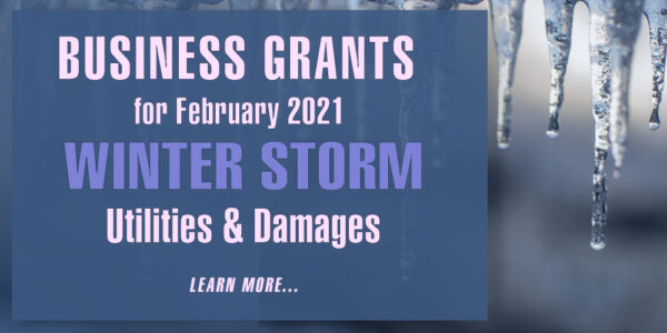 Graphic for February 2021 Winter Storms Business Grants